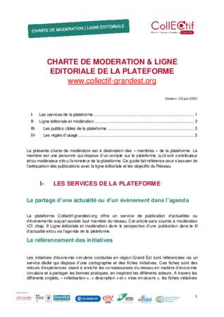 Charte de modération et ligne éditoriale de la plateforme CollECtif Grand Est