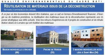 Fiche Réutilisation de matériaux issus de la déconstruction - Retours d'expériences en Lorraine